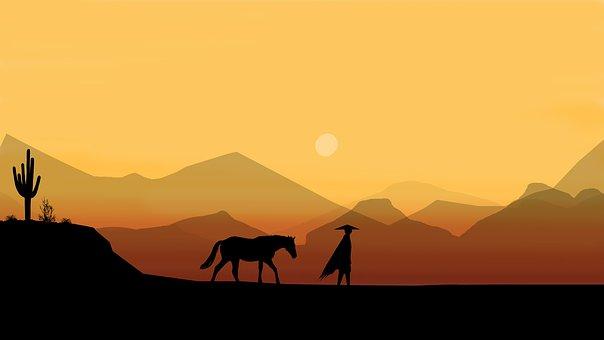 Caballo, Hombre, Desierto, Jinete