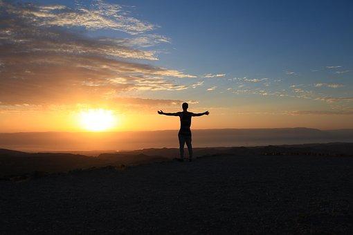 肯定的です, 楽しい, 朝, 空, 日の出, 青, オレンジ, 幸せ, 夏