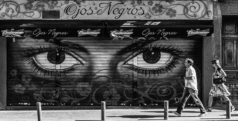 Black white madrid city urban capital spain