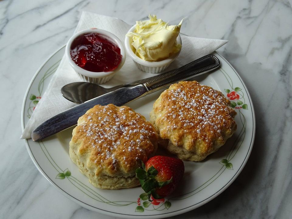 Cream Tea, Scones, Scone, Jam, Strawberry