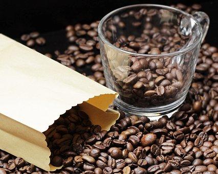 咖啡豆, 咖啡杯, 杯, 咖啡, 高兴, 豆类, 咖啡因, 受益, 瓷, 烤