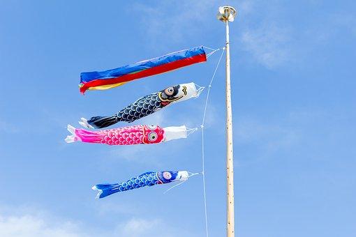 鯉のぼり, こいのぼり, 5月, 節句, こどもの日, 日本, 青空, 旗