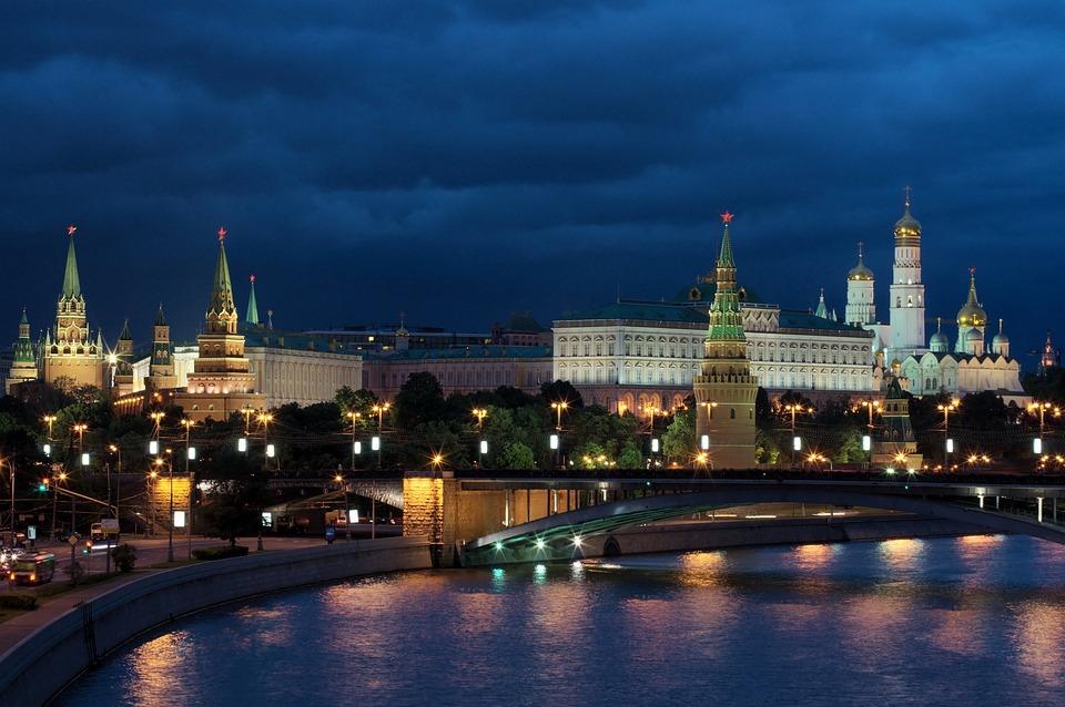 Moskva, Natt, Russland, Kreml, Natt Bilde