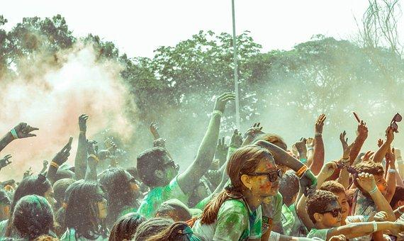 色, パーティー, 女の子, 子供, コンサート, カーニバル, 楽しい, 午後