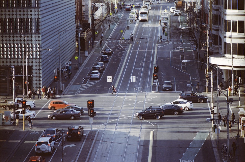 交叉口, 墨尔本, Cbd, 运输, 街, 城市, 电车, 曲目, 基础设施, 业务, 汽车, 旅行, 结构