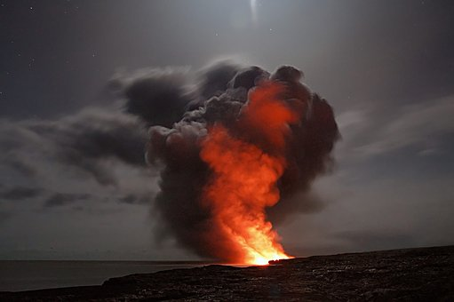 Volcano Hawaii Lava Cloud Ash Water Ocean