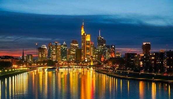 Frankfurt Am Main, Germany, Sunset, Dusk