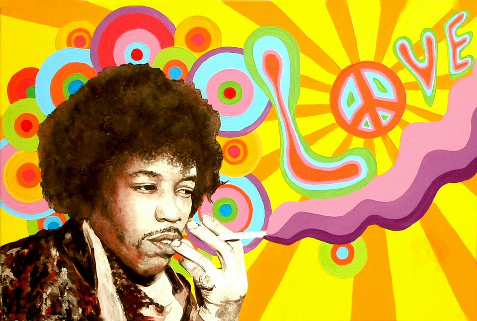 Jimi Hendrix, Hippie, Vrede, Liefde, Muziek