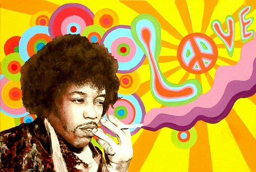 Jimi Hendrix Hippie Peace Love Music Purpl