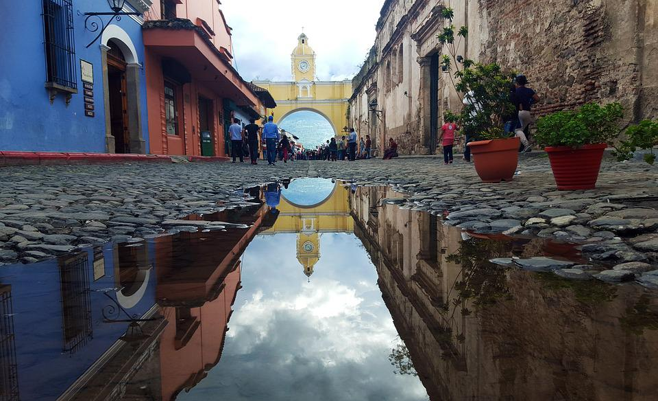 Street, Reflection, City, Urban, Building, Architecture, Guatemala