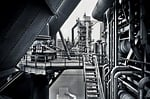 architecture, steel mill, factory building