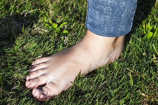 足, 芝生, 指, 裸足, 素足で歩, 人間の体, 解剖学, 美容, 草, 散歩