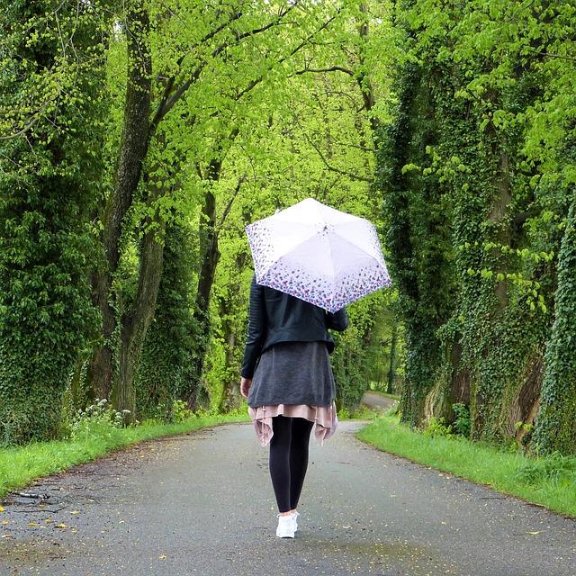Девушка под зонтом картинки вид сзади