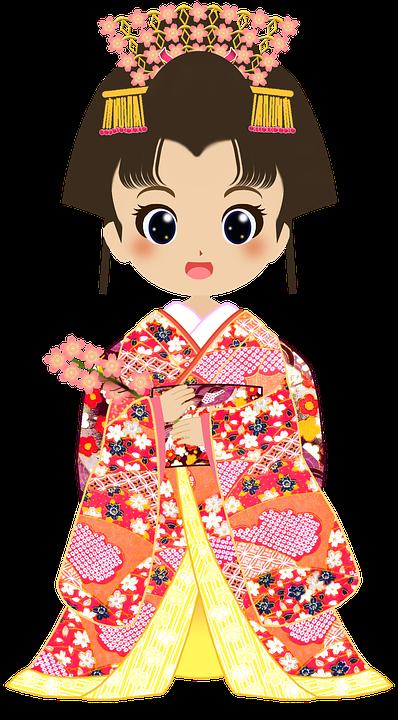 Kimono, Fleurs De Cerisier, Filles, Japon, Kyoto