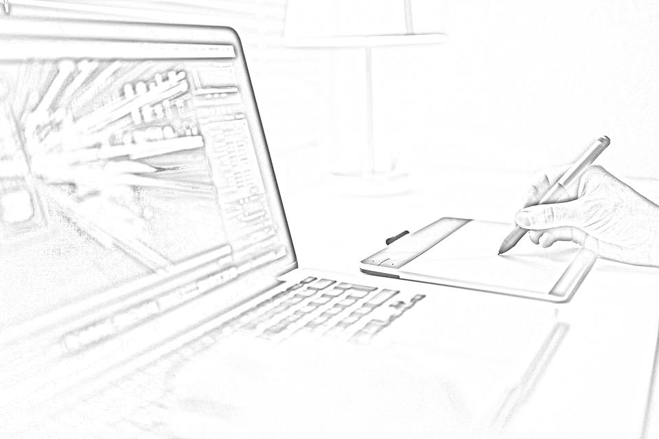 Computer, Skizzieren, Arbeiten, Technologie, Zeichnen