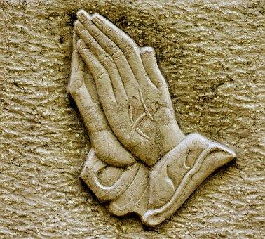 Praying Hands Religious Granite Plate