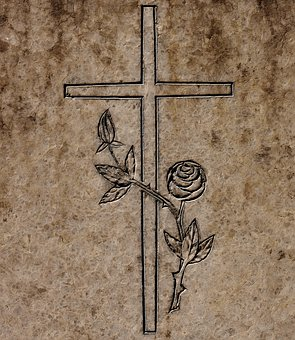 Croix, Dalle De Granit, Modèle, Roses