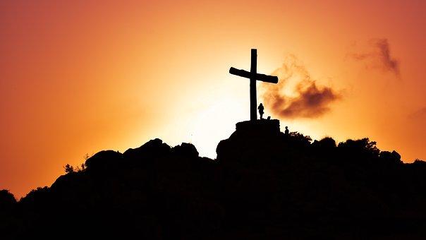 Kreuz, Hügel, Sonnenuntergang, Schatten