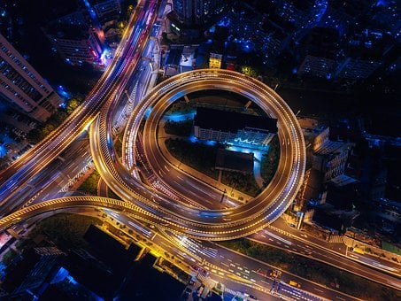 Streets, Night, Lights, Circle, Highways