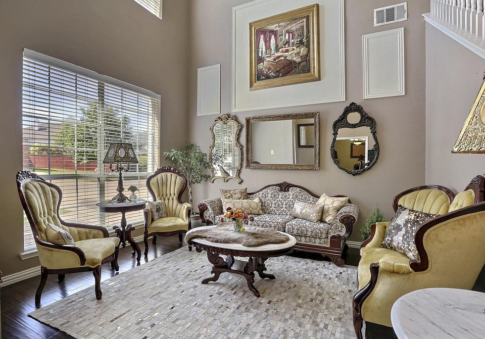 Living Room, Style, Antique, Chic, Vintage, Retro