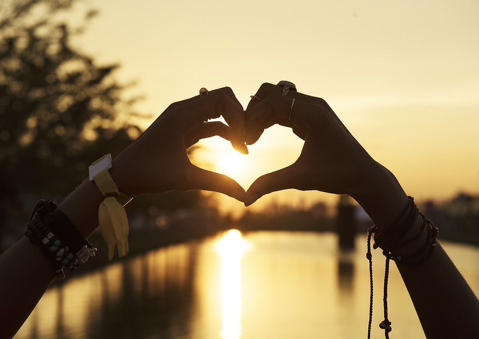 Heart, Silhouette, Sun, Love, Hands, Outdoors