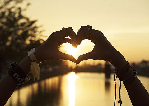 Heart, Silhouette, Sun, Love, Hands
