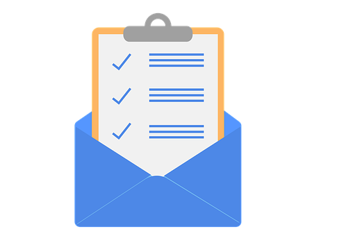 Drawing of an email newsletter coming out of a blue envelope