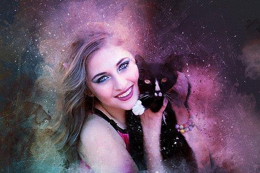 čierne dievčatá obrovská mačička