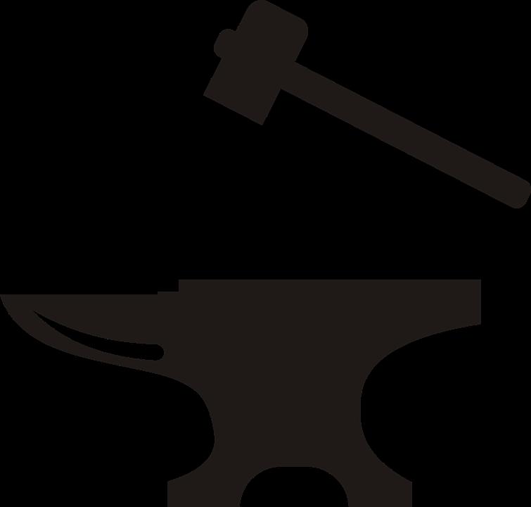 gratis vectorafbeelding aambeeld hamer smid gehamer