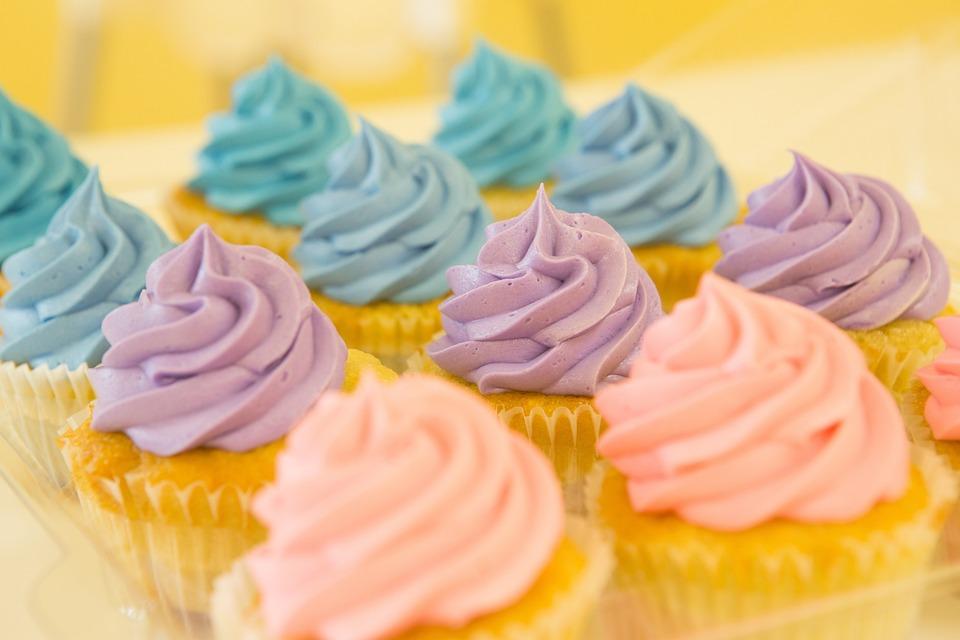 カップケーキ, マフィン, デザート, 食品, ケーキ, 甘い, つや消し, アイシング