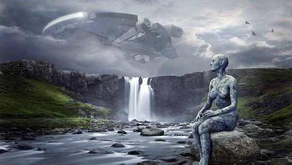 Spaceship, Ufo, Landscape, Waterfall