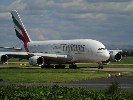航空機, エミレーツ航空, A380, 旅行, フライト, 平面, 航空会社