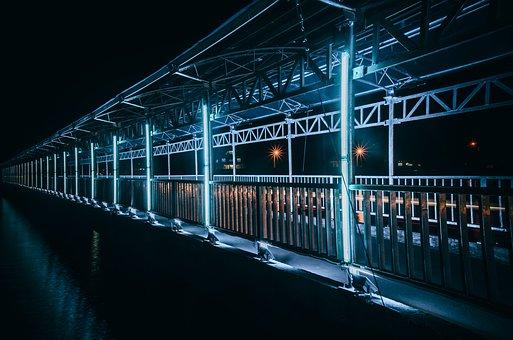 海港大桥, 照片光, 晚上, 灯火, 蓝色, 慢门, 风景, 这条街, Co