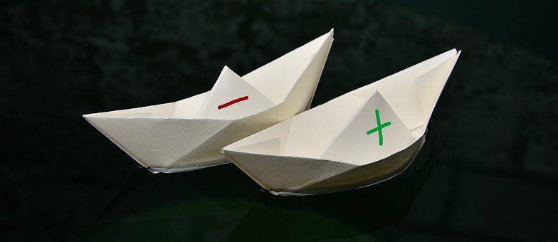 紙のボート, 紙, 2 つ折り, プラスマイナス, 泳ぐ, 発送, コース