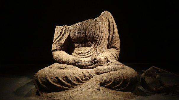 Buddah, Ash, Headless, Statue, Old