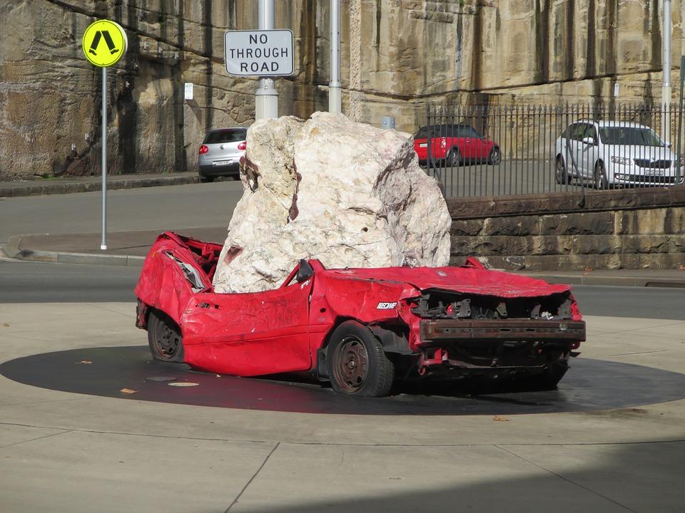 車のクラッシュ, 石, ヒット, 事故, 壊れた, 損傷, 通り, トラフィック, ホイール, 記号