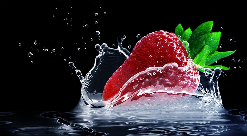 Strawberry, Water Splashes, Splash, Drop Of Water
