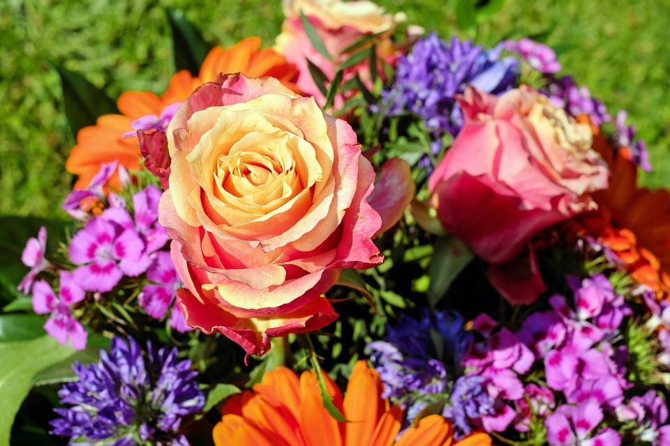Bouquet, Fleurs Coupées, Coloré, Roses, Couleur, Fleurs