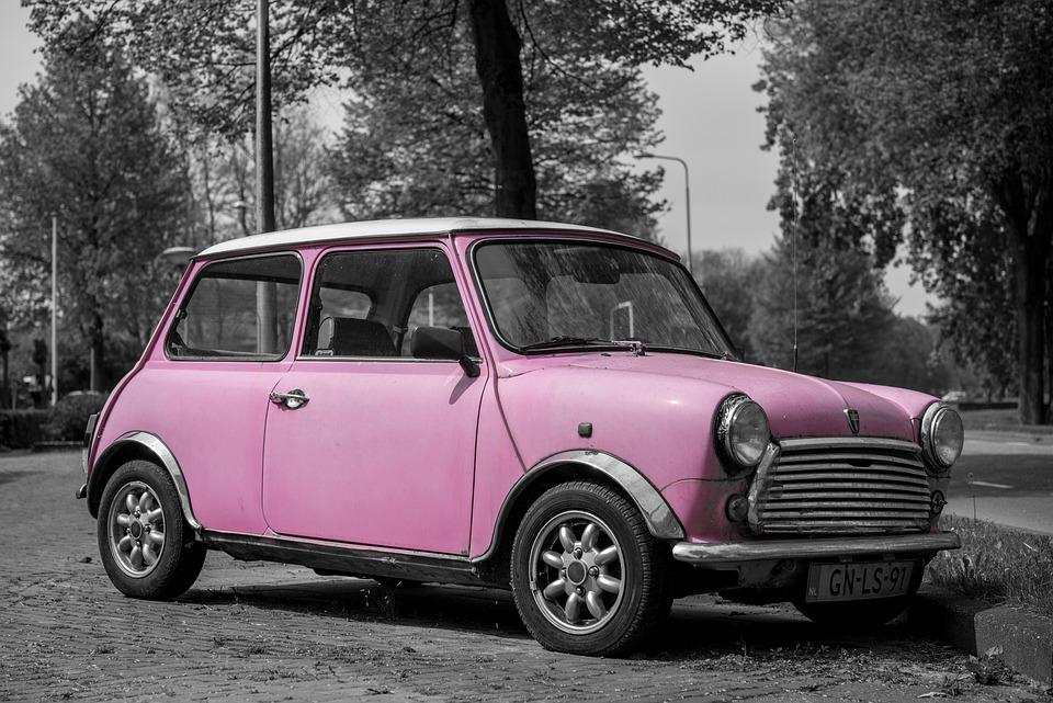 pink mini car fun bright female