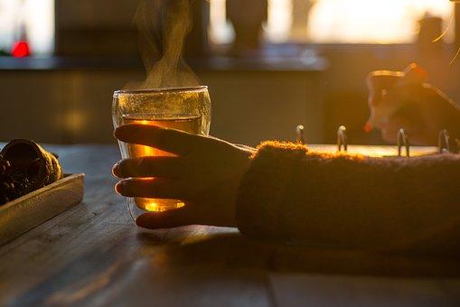 飲酒, 茶, 勉強, 女性, ホーム, ドリンク, カップ, コーヒー, ホット