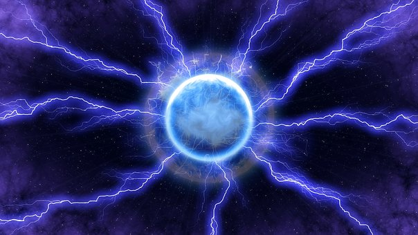 Lightning, Energy, Blue, Light, Space