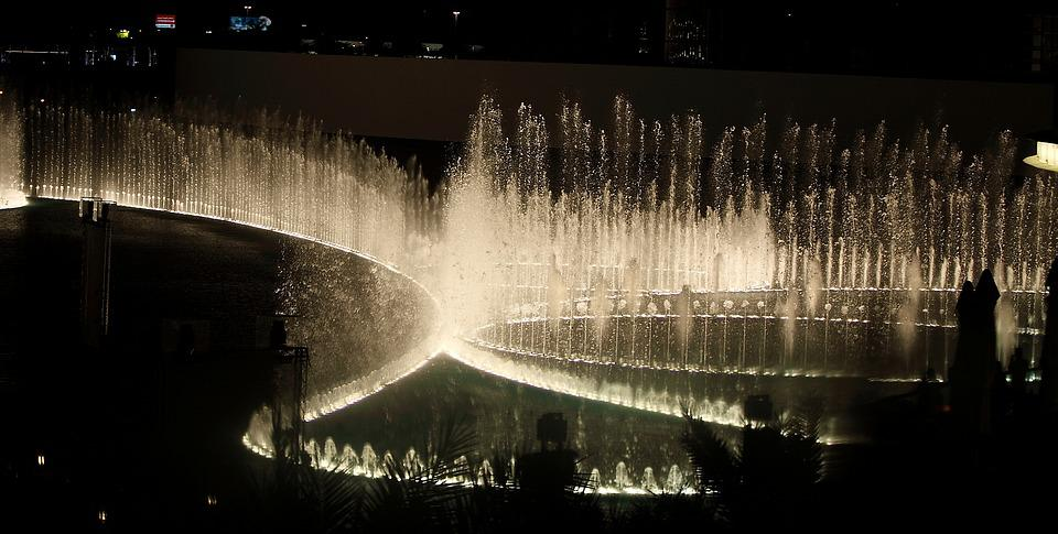 Night, Dubai, Fountain