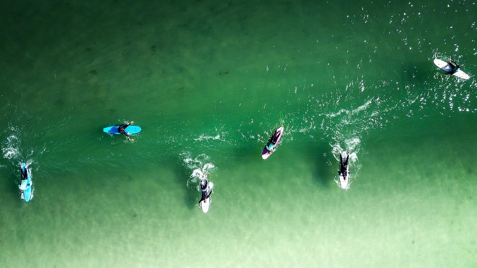 Puesta De Sol, Surfista, Surf, Océano, Olas, El Agua