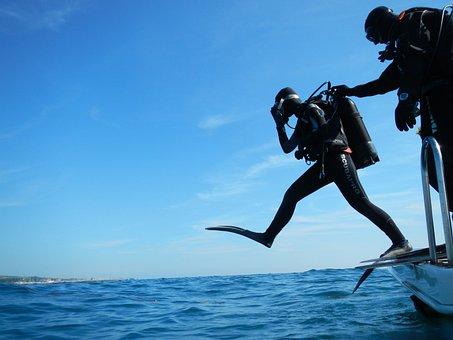 Sub, Diving, Scuba, Giant Step, Diver