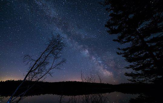 Dark evening with starry sky