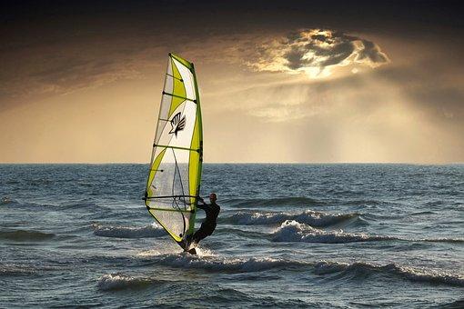 Windsurfing, Sea, Clouds, Sunset, Nature