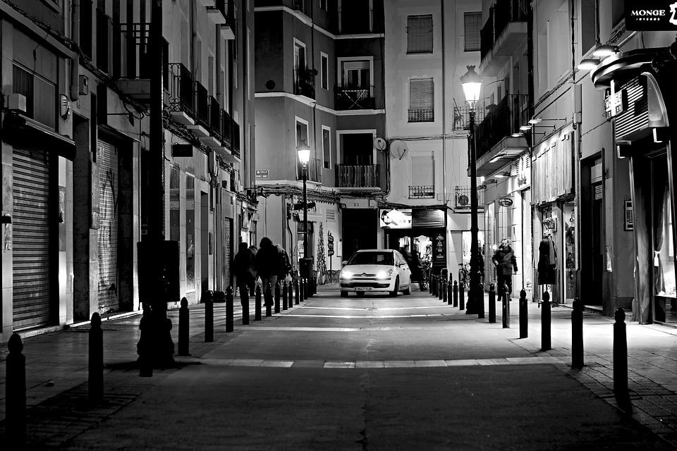 Nacht, Stadt, White, Schwarz, Lichter, Schatten, Auto
