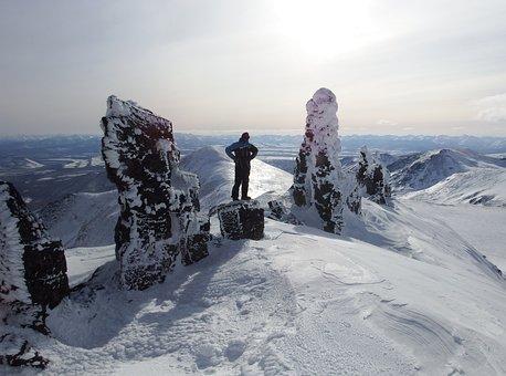 山, クライミング, 岩, 外れ値, 石柱, Caccuri, 冬, 吹溜り