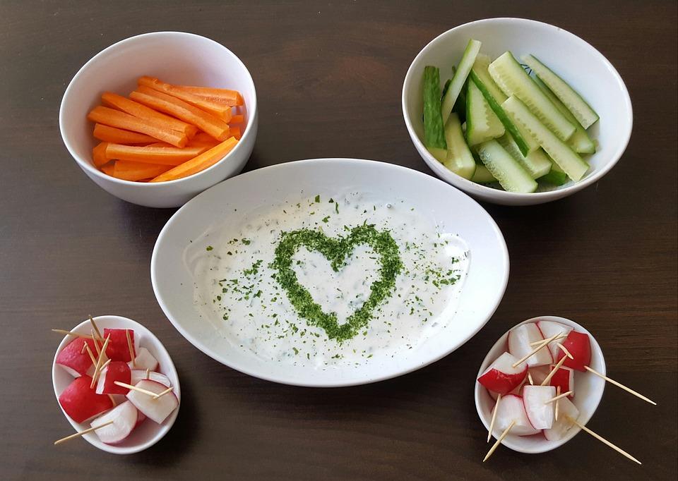 Gesund, Gemüse, Möhre, Gurke, Radieschen, Quark
