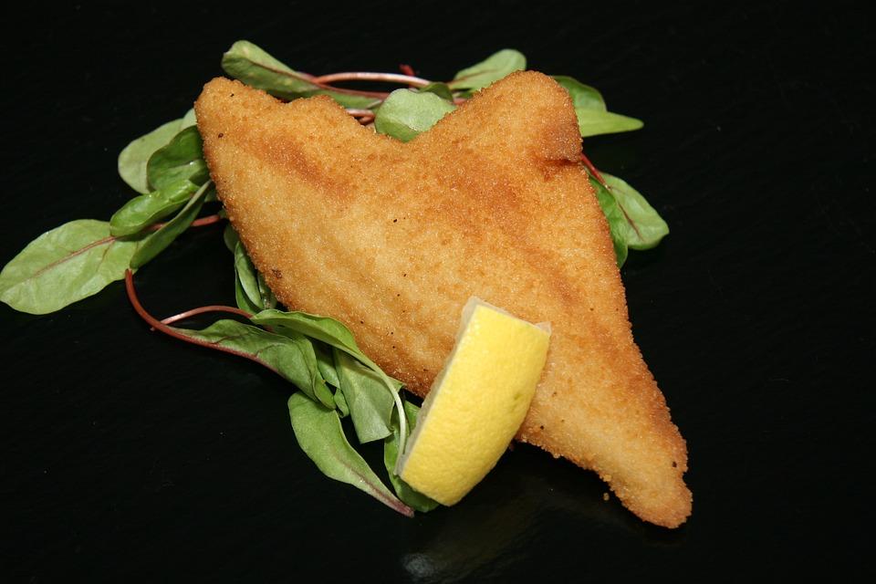Fish, Fish Fillet, Breaded, Lemon, Salad, Refreshments